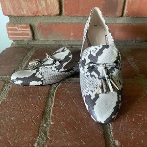 ZARA Snakeskin Black White Tassel Loafers Sz 9